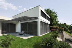 Beim Bauen mit der Sonne ist ein flexibler Sonnenschutz unverzichtbar. #Markise #Raffstore #Jalousien #außen #Architektur
