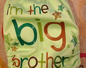 I'm the big brother cloth pocket diaper with snaps and insert included.  Great for gender reveal!