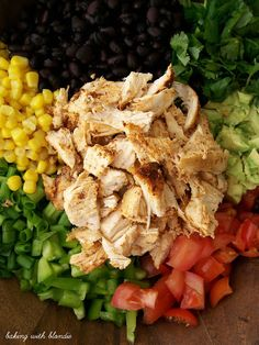 Southwestern Chopped Chicken Salad... This has been made about every other week by me and my husband. It's fresh, healthy and kinda like a chipotle burrito bowl without the rice. chopped salads, southwestern chop, black beans, chicken salads, healthy salad, salad recipe, bell peppers, chop chicken, green onions
