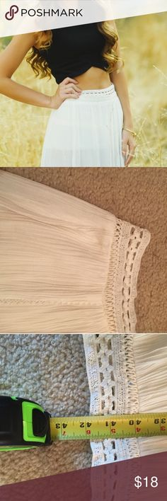 Lush White Maxi Skirt with Side Slits Amazing white maxi skirt. Two slits in the front. Beautiful details. Short mini skirt attached at waist. Lush Skirts Maxi