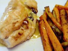 """DINNER:  Goat cheese and dried cranberries stuffed chicken breast (honey & dijon mustard sauce) w/ carrot and eggplant """"fries""""."""