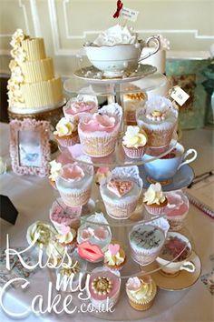 Kiss My Cake.co.uk - WEDDINGS  wedding cupcake tower, vintage wedding, vintage cupcakes