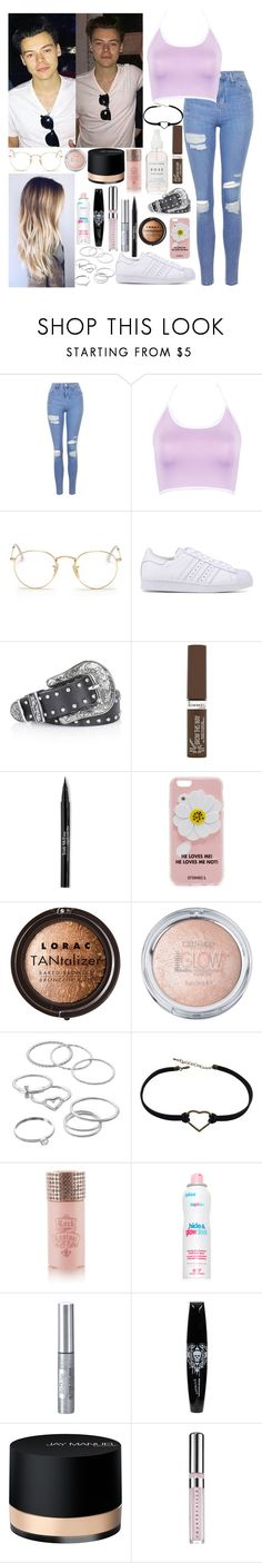 """London with Harry"" by kennedey-lynn-freeman ❤ liked on Polyvore featuring Topshop, WithChic, Ray-Ban, adidas Originals, Rimmel, Trish McEvoy, Iphoria, LORAC, LC Lauren Conrad and Rock Revival"