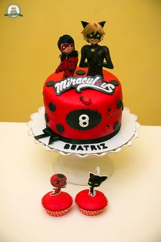Miraculous Lady Bug Ladybug Cakes, Owl Cakes, Miraculous Ladybug Party, 16 Birthday Cake, Bday Girl, Chocolate Art, Cute Cakes, Themed Cakes, Cinderella Cakes