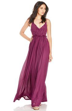 DailyLook: DAILYLOOK Crochet Bodice Maxi Dress in Wine S - L