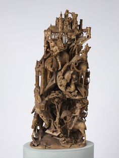 Scenes from the Story of St George. Netherlands, ca. 1520. Boxwood, Height: 34 cm. Although its subject is religious this carving was not intended for devotional use but made as a luxury object. -Victoria and Albert Museum-
