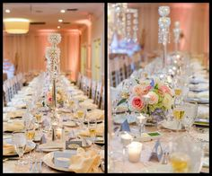 Long Feasting Table with Rhinestone Candles and Pink Centerpieces by Andrea Layne Floral Design | Tampa Wedding Venue the Centre Club Wedding Reception