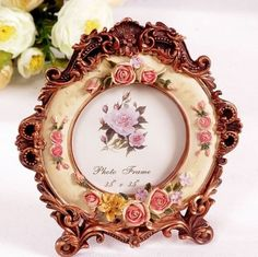 Retro-Vintage-Rose-Flower-Brown-Home-Decor-Photo-Frame-Picture-Resin-3-5