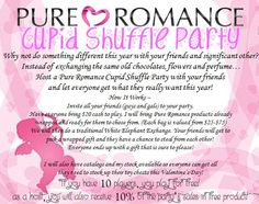 Put a spin to this Valentine's Day!!!  Book your Cupid Shuffle Party with Pure Romance by Jennifer today.  If co-ed NO demo will be held.