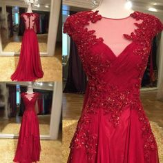 Illusion Neck Red Chiffon with Lace Appliqued Prom Dresses Long Party Pageant Dresses,APD1907 · DiyDresses · Online Store Powered by Storenvy