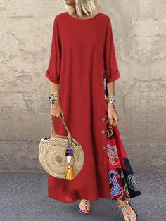 Casual Patchwork Button High Low Hem Plus Size Dresses – Prilly maxi dresses maxi skirt outfit maxi dress outfit maxi dress summer maxi dress casual long dress casual summer dress outfit High Low Hem Dresses, Plus Size Dresses, Loose Dresses, Maxi Dresses, Vestidos Vintage, Vintage Dresses, 1950s Dresses, Vintage Skirt, Stitching Dresses