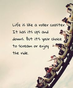"lol this reminds me of a friend ""Life is like a roller coaster. It goes up and then down and then up and then down, then it turns around, then upside down, and before you know it, it's done and you never get the second ride!"" haha -kt :) Roller Coasters, Roller Coaster Quotes, Quotes Quotes, Love Quotes, Witty Quotes, Quotes Inspirational, Change Quotes, Quotable Quotes, Motivational Quotes"