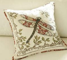 Pottery Barn - Anna Marie Dragonfly Applique Pillow Cover