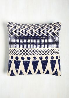 Throw Cushion to the Wind Pillow - Blue, White, Geometric, Daytime Party, Boho, Dorm Decor, Cotton, Americana, Fall