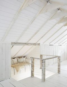 shiplap between beams on attic ceiling.  Fake it and insulate
