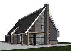 Strakke schuurwoning House Layout Plans, House Layouts, House Plans, Modern Family House, Modern House Design, Passive House Design, Attic House, Modern Buildings, Model Homes