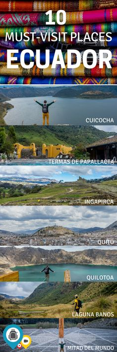 A bucket list guide to the best places to see in Ecuador. Plan a few days to explore the capital of Quito and go on a hike to a volcano within the city limits. A trip to Laguna Banos is required in order to see Reserva Ecologica Cayambe-Coca. Take a train to Guayaquil on Tren Crucero and pass through a variety of climate zones. Bucket list travel in South America. | Back-packer.org #Ecuador