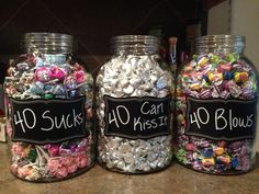For my birthday party! Suckers for 40 Sucks bubble gum for 40 Blows and Hershey Kisses for 40 Can Kiss It. The post For my birthday party! Suckers for 40 Sucks bubble gum for 40 Blows appeared first on Decoration. 40th Birthday Party For Women, 40th Party Ideas, 40th Bday Ideas, 70th Birthday Parties, 50th Party, Birthday Woman, Mom Birthday Gift, 50th Birthday Themes, Diy Party