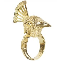 21dgrs Ring ($203) ❤ liked on Polyvore featuring jewelry, rings, golden, peacock jewelry, 18 karat gold jewelry, 18k gold plated ring, 18k ring and peacock feather jewelry