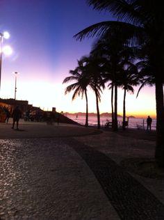 Colorful sunrise in Arpoador, Rio de Janeiro