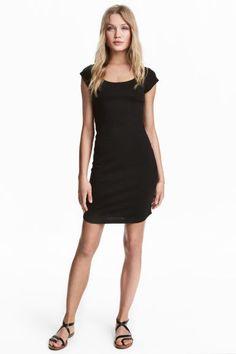 Nauwsluitende tricot jurk - Zwart - DAMES | H&M BE