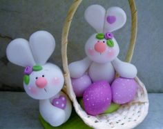 Bunny Pair - Easter Eggs - Easter Basket - Polymer Clay - Figurine