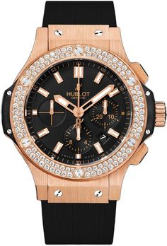 Hublot Big Bang 18k Rose Gold 44mm Watch with 2 Carats of F Color VS Clarity Diamonds