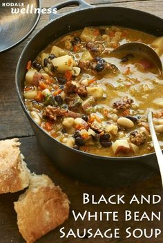 Black and white bean sausage stew. Bonus: It only takes 30 minutes Crock Pot Recipes, Cooking Recipes, Healthy Recipes, Bean Soup Recipes, White Bean Sausage Soup, Sausage Stew, Chicken Sausage, Black Bean Soup, Sausage Potatoes