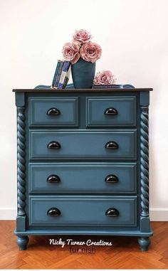 Large Painted Chest of Drawers, Painted Dresser, Hand Painted in a Blue Mineral Paint#blue #chest #drawers #dresser #hand #large #mineral #paint #painted