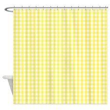 Yellow White Gingham Plaid Shower Curtain for