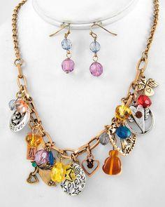 Tri-tone / Multi Color Acrylic / Lead Compliant / Angel Charm / Necklace & Fish Hook Earring Set