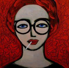 """Saatchi Art Artist Nelly Van Nieuwenhuijzen; Painting, """"Antonia with cigarette"""" #art"""