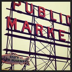The famous Pike Market sign-Miele Seattle Food Tour via http://irene-turner.com/2013/10/miele-seattle-food-tour/