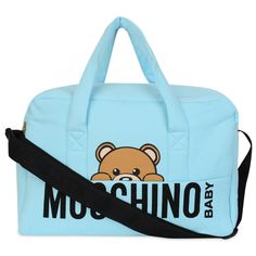 Moschino Baby Boys Aquamarine Blue Changing Bag with Teddy Bear Print and Black Text Accessories Baby Boys, Printed , @ Chocolate - Luxury childrenswear for all occasions! Baby Outfits Newborn, Baby Boy Newborn, Baby Boy Outfits, Baby Boys, Baby Necessities, Baby Essentials, Baby Changing Bags, Bear Logo, Bear Print