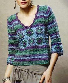 Talla: 38-40 Materiales: 500 grs. pescadora de Cisne,1 ovillo por color en 6295, 6307, 6283, 6309 y turquesa Crochet : Nº4Puntos emple...