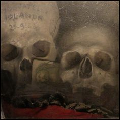 Votive skulls in the Fontanelle Cemetery Caves, Naples. Italy