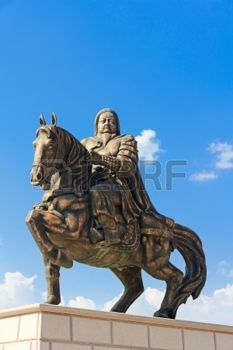 Statue of Genghis Khan at the Mausoleum, Ordos, Inner Mongolia, China photo