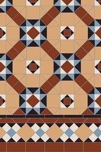 Specific breakdowns of our patterns showing the number of tiles required per square metre, from the simple checkerboard to the most complex design made up from many different shapes and colours. Hallway Designs, Geometric Tiles, Carpet Stairs, Patterned Carpet, Tile Patterns, Repeating Patterns, Tile Design, Victorian Homes, Carpet Runner