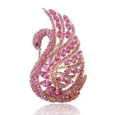 Gold-Tone Swan Bird Brooch Pink Austrian Crystal - List price: $69.95 Price: $20.99 Saving: $48.96 (70%)