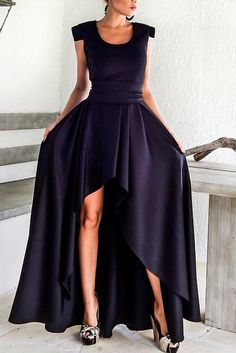 Navy Blue Sophisticated Party Queen High Low Dress MB61918-5 – ModeShe.com