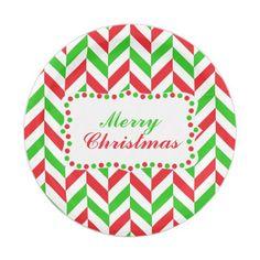 Red and Green Herringbone Pattern Christmas Paper Plate