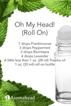"""Frankincense comforts, Peppermint loves to relieve stress and Ravintsara clear the sinuses! With this """"Oh My Head"""" roll on blend you'll feel the ahh relief! Try our FREE class -Introduction to Essential Oils - to learn more about blending with essential o Essential Oils For Migraines, Oils For Sinus, Doterra Essential Oils, Young Living Oils, Young Living Essential Oils, Ravintsara, Essential Oil Diffuser Blends, How To Relieve Stress, Peppermint"""