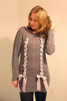 DIY Woven Ribbon Sweater. Would be cute even on a tank or T-shirt
