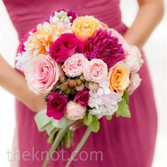 Real Weddings - A Vibrant Rustic Wedding in Lake Tahoe, CA - Pink and Orange Bridesmaid Bouquet