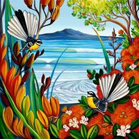 Irina Velman Irina Velman is a West Auckland artist whose paintings can be found in private collections throughout the world. Known for her distinctive style and vibrant colours, Irina's inspiration comes from the dramatic beauty of New Zealand. Thai Tattoo, Maori Tattoos, Tribal Tattoos, Irezumi Tattoos, Irina S, Zealand Tattoo, School Murals, New Zealand Art, Nz Art