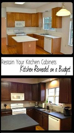 Remodel Your Kitchen On A Budget Restain Kitchen Cabinets Paint Countertops Add Moulding