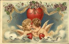 Girl and boy angels kissing