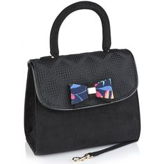 With its rigid handle as well as a detachable shoulder strap, the KANSAS bag offers ultimate versatility from office to evening. Featuring a bold bow detail with hidden magnetic fastening, and matching Ruby Shoo logo bag on the inner pocket. Ruby Shoo, Black Handbags, Kansas, Shoulder Strap, Handle, Bows, Backpacks, Pocket, Purses