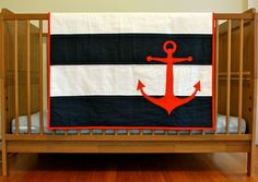 Custom Nautical Crib or Toddler Quilt by LifeStitchedTogether