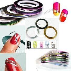 Lot 9 couleurs différente Striping Tape Nail Art Fil Déco Ongle Gel Uv Manucure
